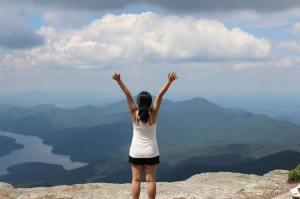 hazel on top of mountain